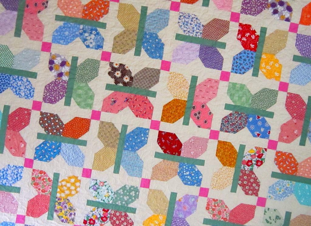 Colorful Butterfly Quilt Made with 1930s Reproduction Fabrics