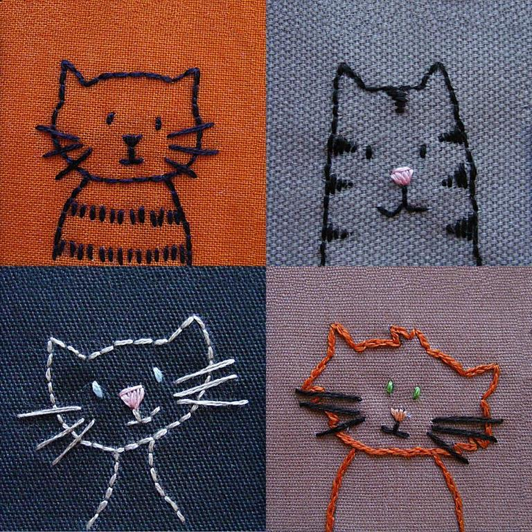 Hand embroidery patterns of 4 cats in a grid formation
