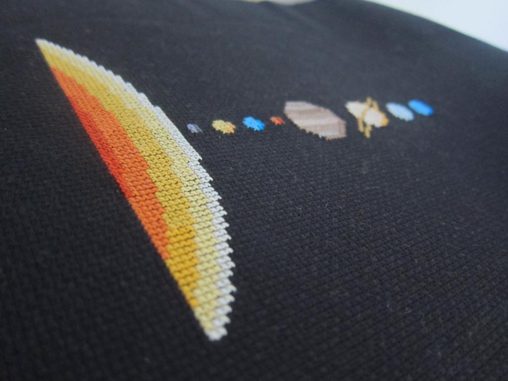 Cross-stitch of the solar system on black aida