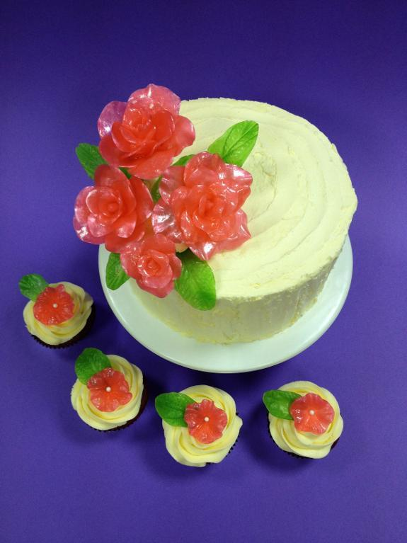 Isomalt Flower Cake and Cupcakes