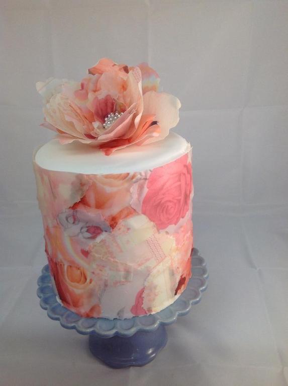 Decoupage Wafer Paper Cake - www.craftsy.com