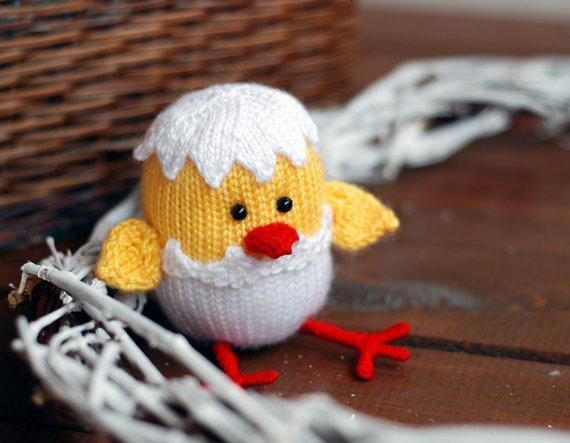 Knit hatched Easter chicken