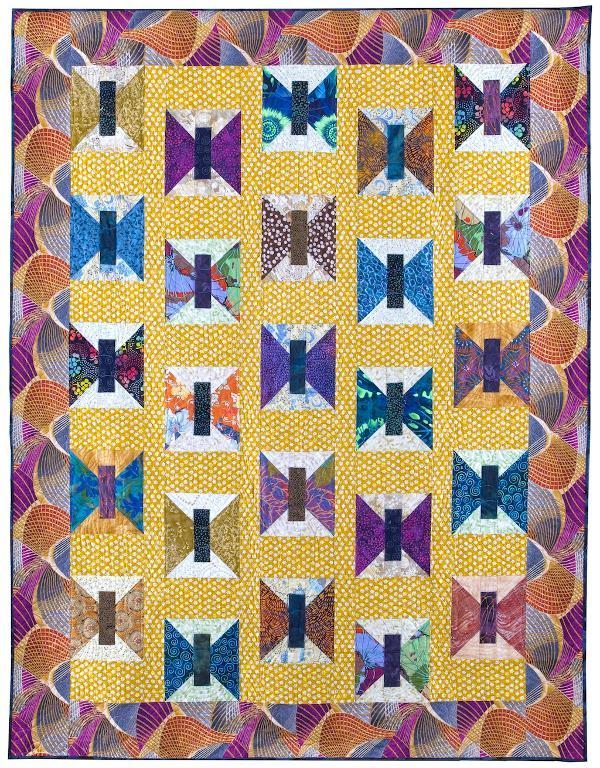 Yellow and Purple Butterfly Quilt