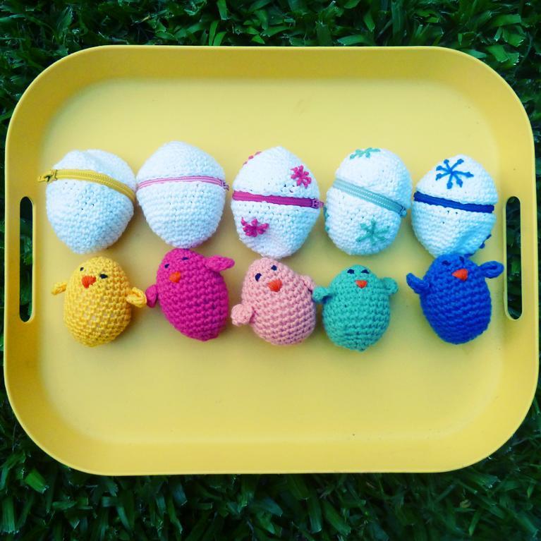 Crochet amigurumi Easter eggs and chicks