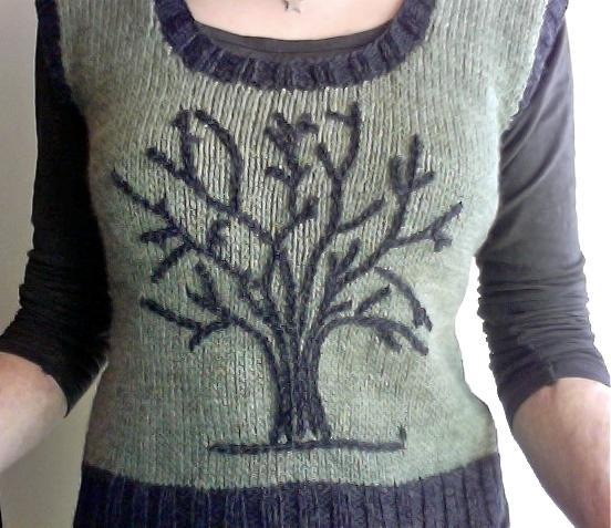 Winter tree knitted vest