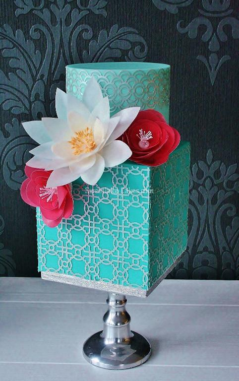 Cake Decorated with Wafer Paper Flowers