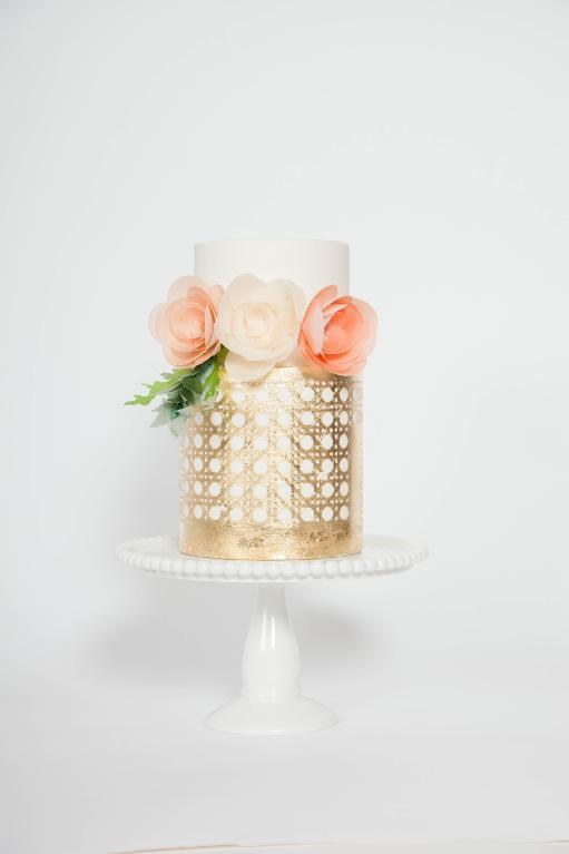 White & Gold Cake with Paper Flowers