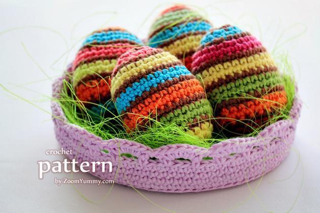 Crochet striped Easter eggs