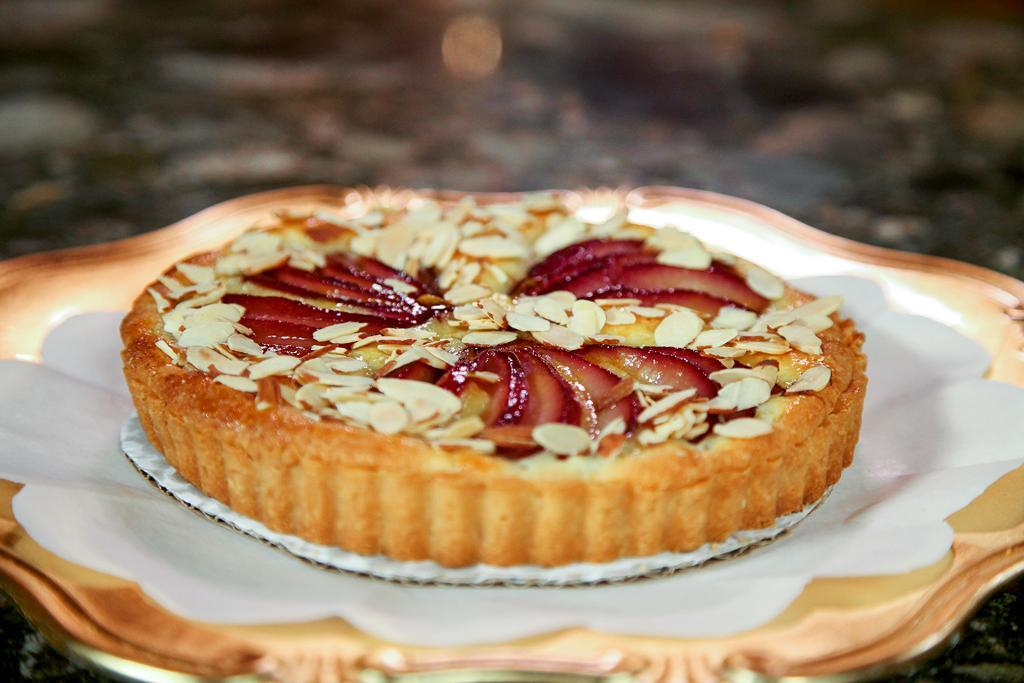 Tart with Poached Pears and Toasted Almonds