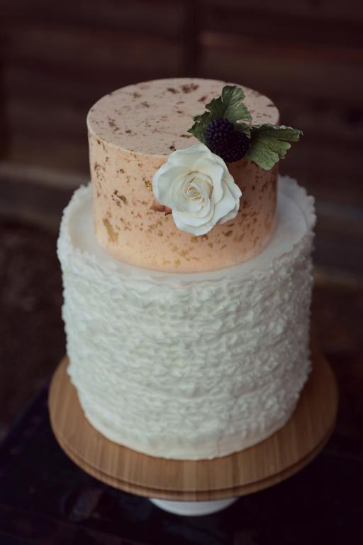 Ruffled Wedding Cake with Gold Leaf Specks