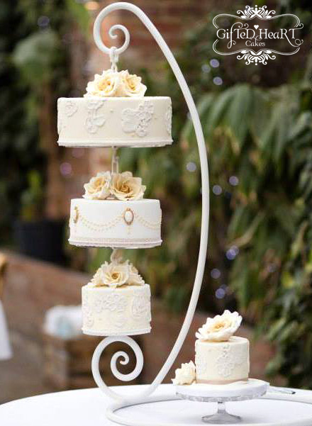 Peach cameo hanging wedding cake by Gifted Heart Cakes