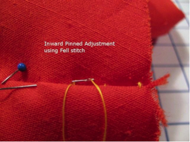 Inward Pinned Adjustment Using Fell Stitch