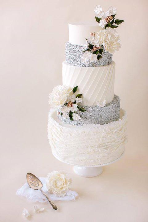 Elegant Fondant Frilled Wedding Cake