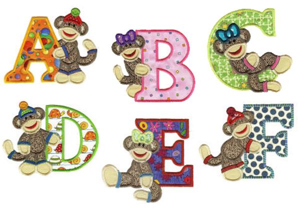 Sock Monkey applique alphabet by DesignsbyJuJu.com