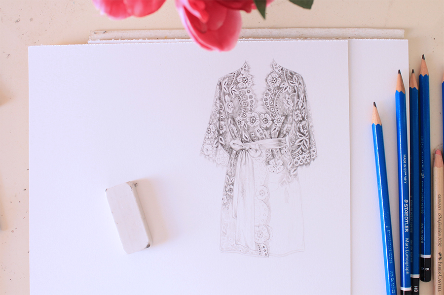 Sketching Designer Robe with Graphite Pencil