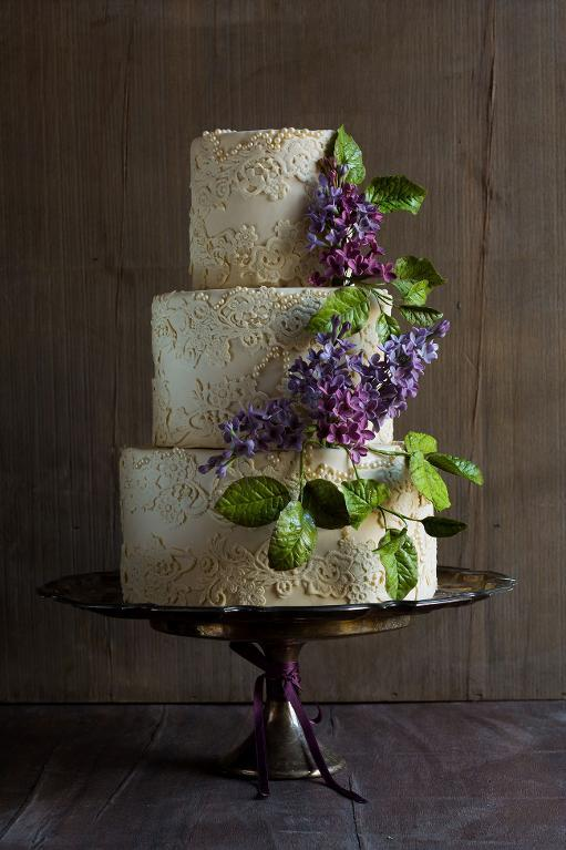 Lace Wedding Cake with Lilac Sugar Flowers