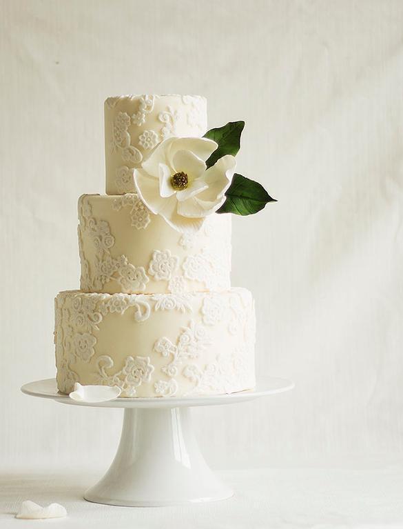 White Magnolia Wedding Cake