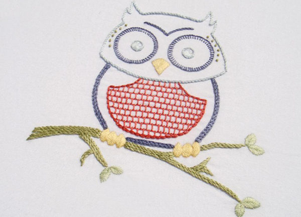 Owlish hand embroidery pattern