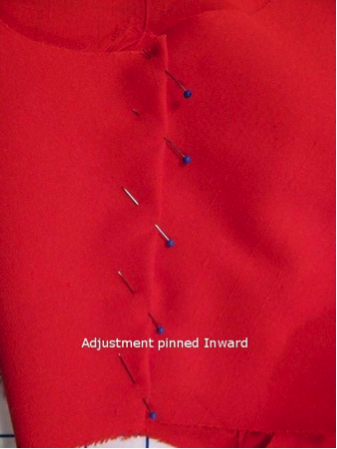 Sewing Adjustment Pinned Inward