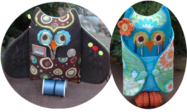 machine embroidery in the hoop owl sewing kit and crochet holder
