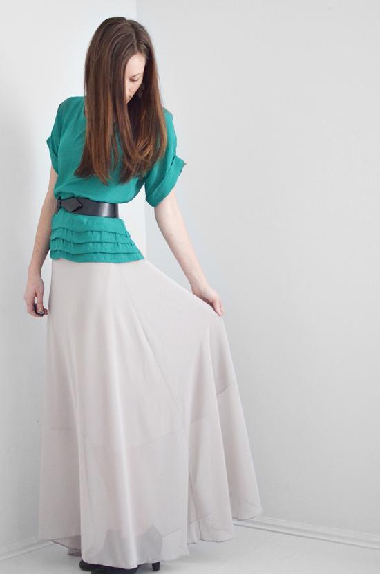 Woman Wearing Chiffon Maxi Skirt