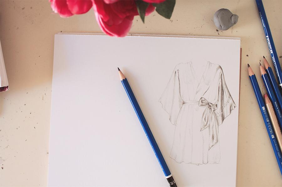 Silk robe illustration work in progress