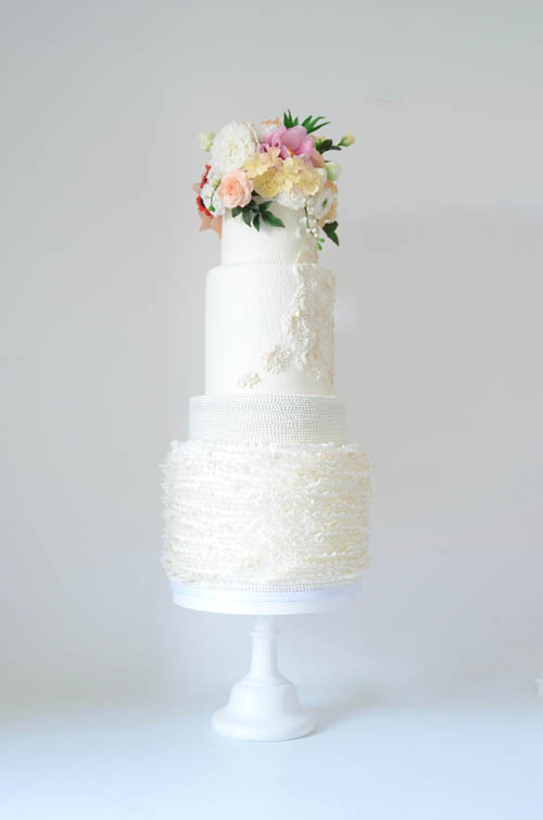 Frilled Lace Wedding Cake