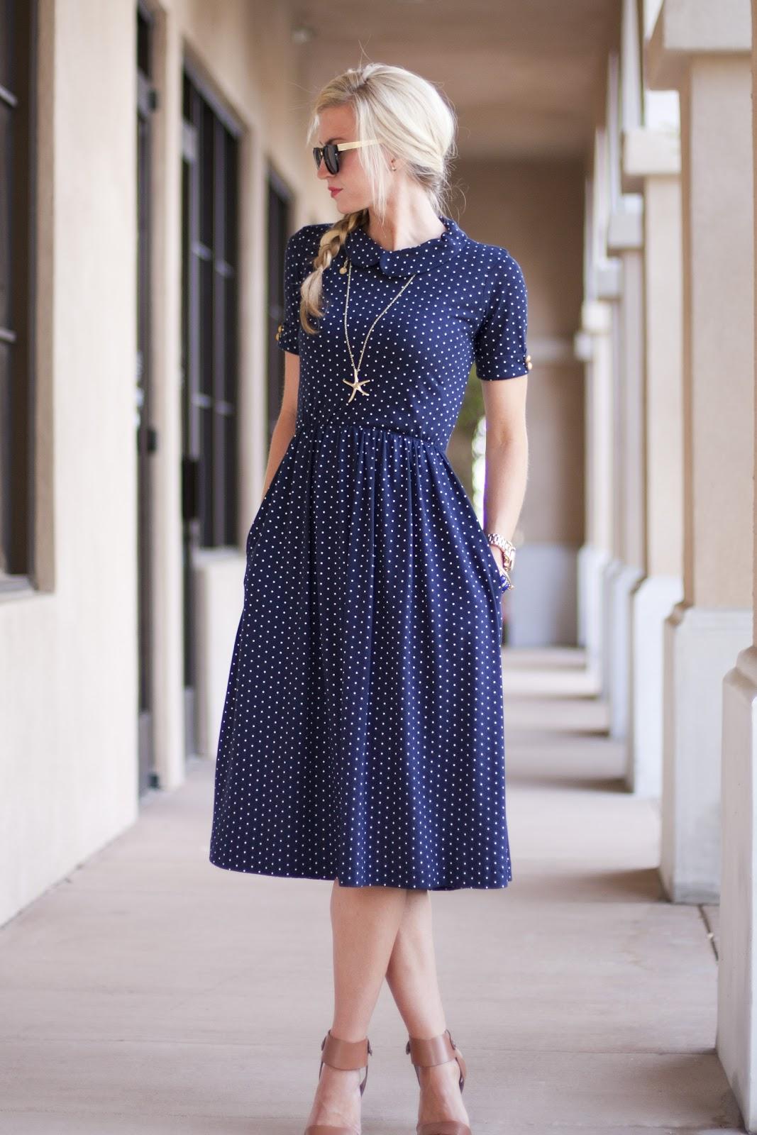 Blue Tea Length Dress for Spring