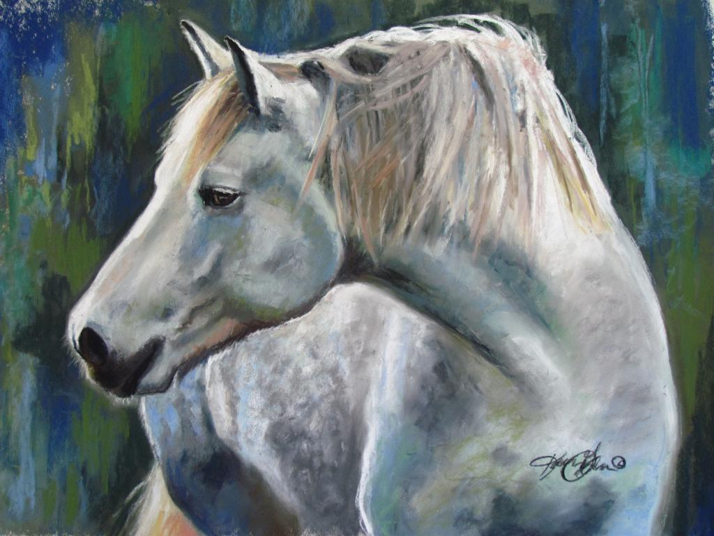 Painting of White Horse - Bluprint.com