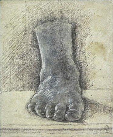 Codex Vallardi drawing of the foot by Leonardo da Vinci
