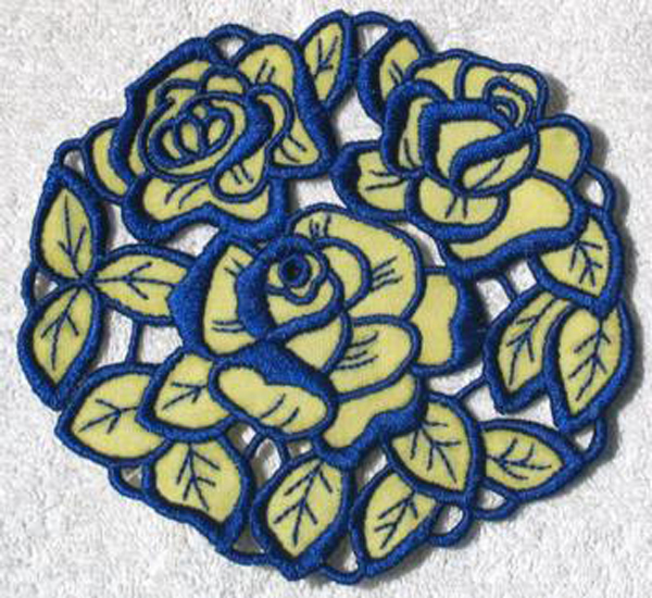 blue and yellow rose cutwork lace doily