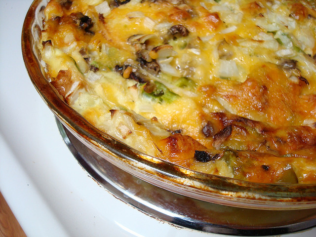 Quiche filled with Veggies and Cheese cooling