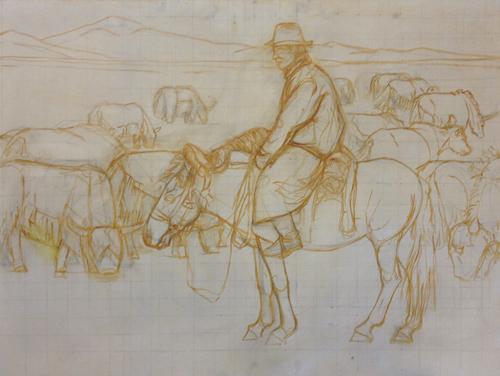Initial brush drawing of a man on a horse