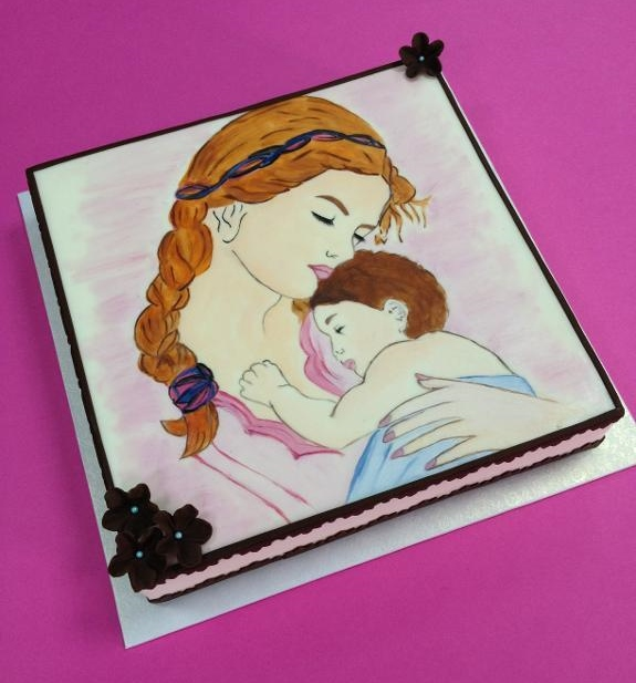 Painted Mother's Day Cake