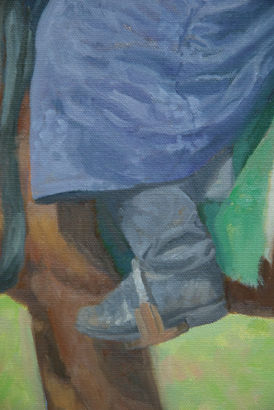 Close-up detail of oil painting of man on a horse in Mongolia