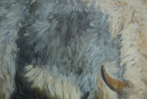 Detail of one of the yaks in an oil painting