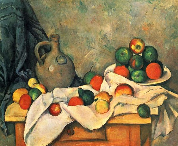 """Still life, drapery, jug and fruit bowl"" by Cezanne"