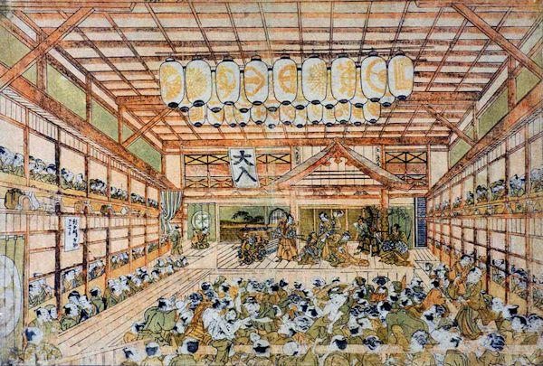 """Shibai Ukie"" depiction of the Kabuki theater Ichimura-za in its early days."