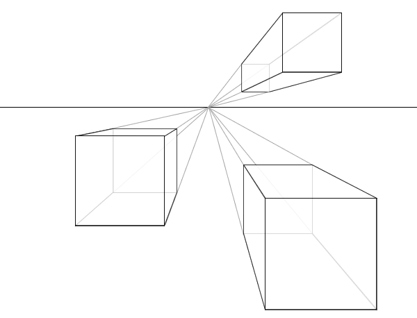 """Representation of cubes in a one-point perspective"" by Oliver Harrison"
