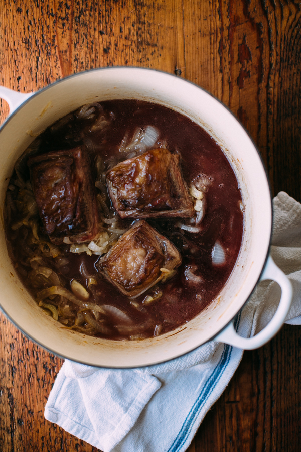 Braised Short Ribs With Onions and Red Wine Reduction