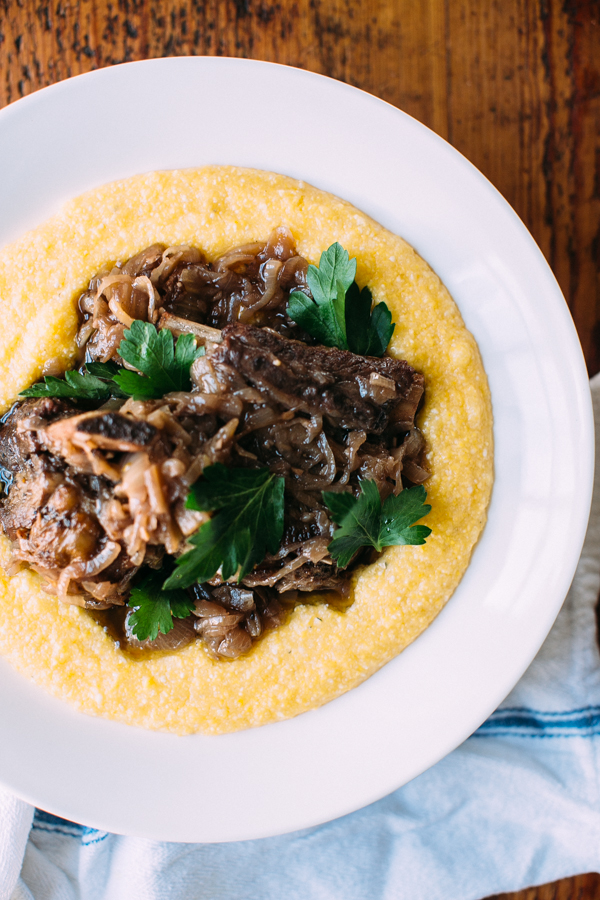 Braised Short Ribs Served With Creamy Polenta