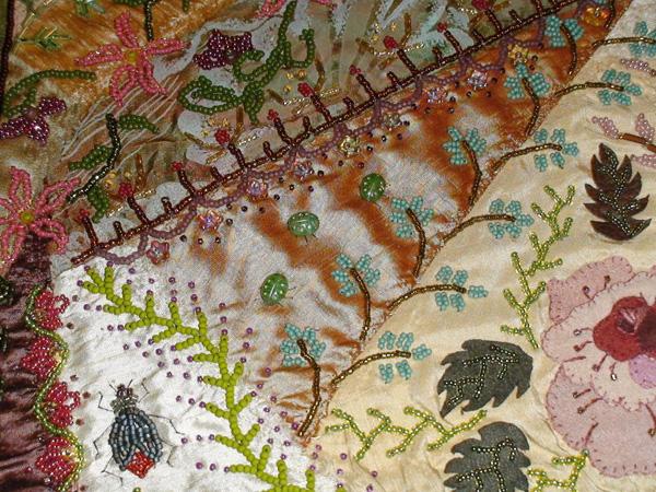 Embellishing embroidery: CrazyforBeads_2 Amy Munson