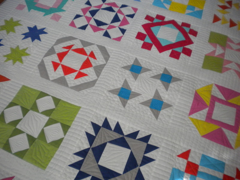Mixed block quilt with a variety of fun colors