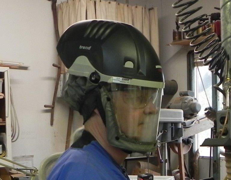 Woodturning wearing a powered air helmet