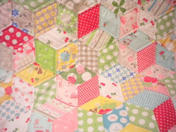 Pastel precision pieced patchwork quilt
