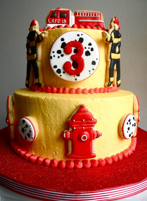 Buttercream Frosted Firefighter Cake