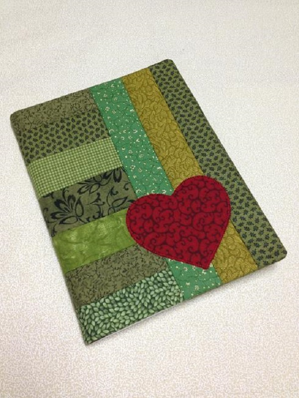 Green quilt journal with red heart