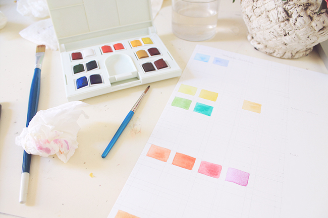 Watercolor paint swatches