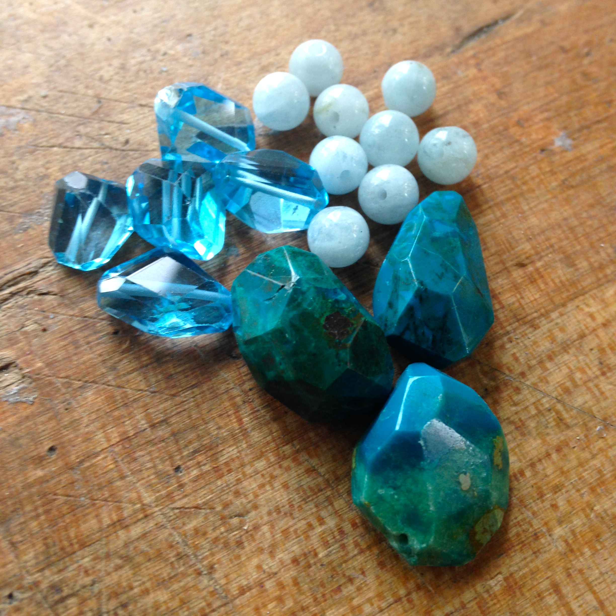 Blue topaz, turquoise and kyanite