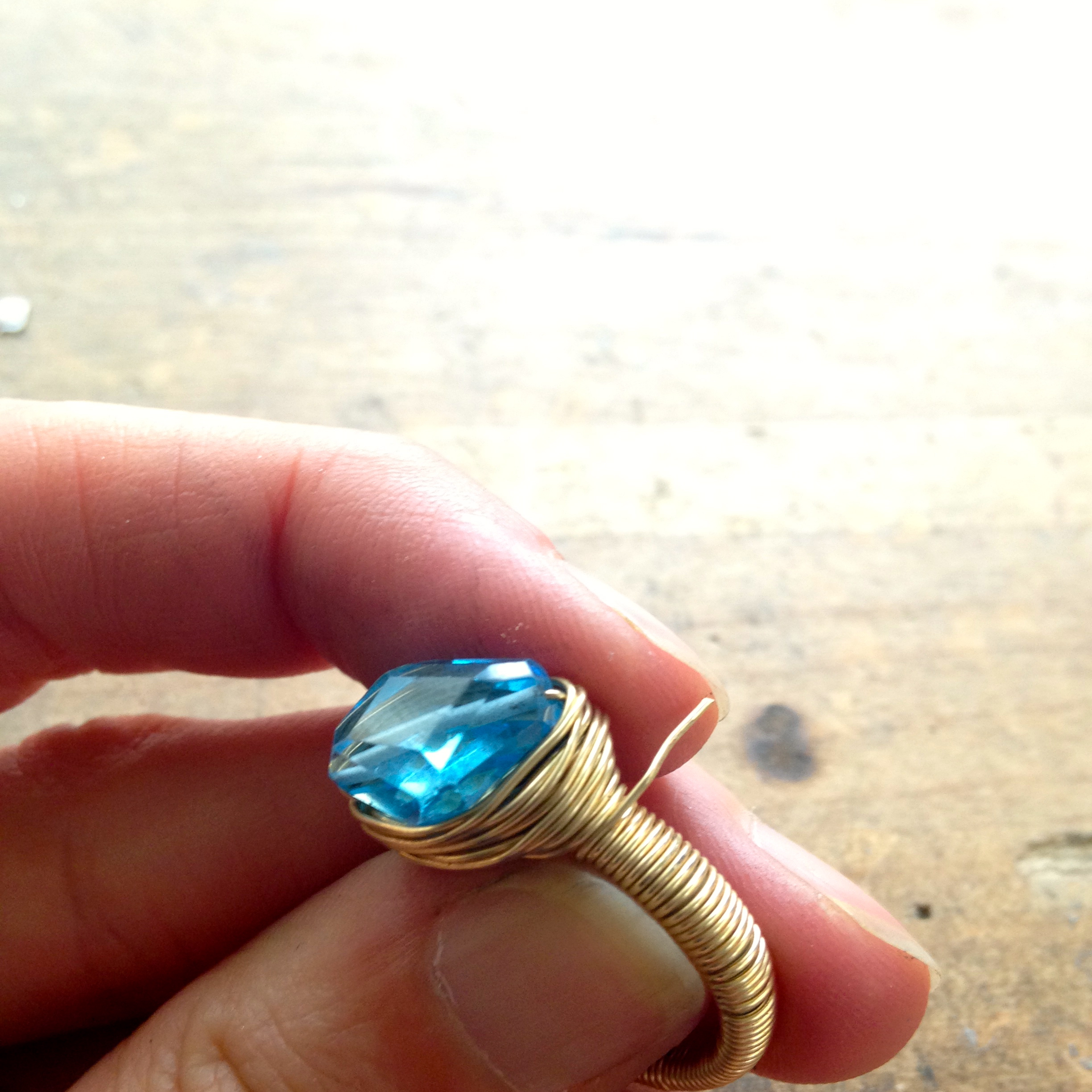 Gold Wire-Wrapped Ring with Blue Gemstone